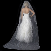 Bridal Wedding Single Layer Satin Ribbon Edge Cathedral Length Veil VS 1C