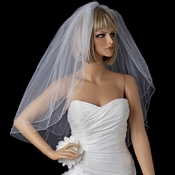 Double Layer Elbow Length Veil with Scattered Rhinestone & Pearl Accents (White or Ivory) 002