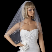 Single Layer Elbow Length Veil with Scalloped Pencil Edge in White or Ivory 101