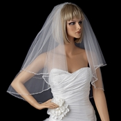 Bridal Wedding Double Layer Elbow Beaded Edge Veil 113 E