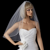 Single Tier Elbow Length Veil with Sparkling Beaded Edge of Accents 119