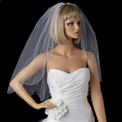 Single Scallop Edge Veil with Scattered Rhinestone & Pearl Accents 125