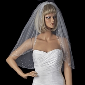 Single Layer Elbow Length Bridal Veil with Scattered Swarovski Crystals V 137 1E