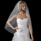 Bridal Wedding Double Layer Elbow Length Veil 1390 w/ Scalloped Beaded Edge