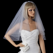 Bridal Wedding Single Layer Elbow Length Pearl & Bugle Beaded Edge Veil 174