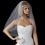Bridal Wedding Single Layer Elbow Length Crystals & Silver Vine Embroidery Veil 201 1E