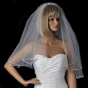 Double Layer Elbow Length Veil with Satin Corded Edge & Geometric Rhinestone Accents 4527