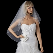 Bridal Wedding Double Layer Elbow Length Beaded Edge Veil 643