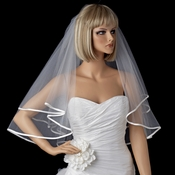 Bridal Wedding Double Layer Elbow Length Ribbon Edge Veil 947