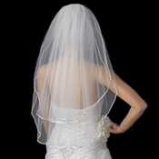 Bridal Wedding Double Layer Elbow Length Rattail Satin Corded Edge Veil VR E