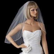 "Bridal Wedding Single Layer Elbow Length 1/8"" Satin Ribbon Edge Veil VS 1E 1/8"