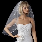 "Bridal Wedding Double Layer Elbow Length 1/8"" Satin Ribbon Edge Veil VS E 1/8"