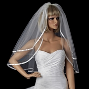 "Bridal Wedding Double Layer Elbow Length 3/8"" Satin Ribbon Edge Veil VS E 3/8"