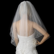 Bridal Wedding Double Layer Elbow Length Veil 5000 E w/ Scattered Flower Rhinestones & Pearls