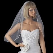 Bridal Wedding Single Layer Rattail Satin Corded Edge Elbow Length Veil VR 1E