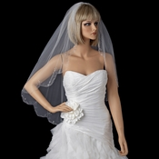 Bridal Wedding Single Layer Fingertip Scalloped Floral Beaded Edge Veil 116 1F (White or Ivory)