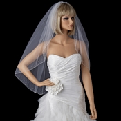 Bridal Wedding Single Layer Fingertip Length Veil 139 1F w/ Crystals