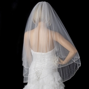 Bridal Wedding Double Layer Fingertip Length Veil 139 F w/ Crystals