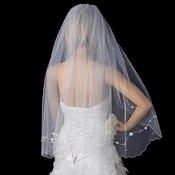 Single Fingertip Length Veil with Rhinestone & Pearl Floral Embroidery V 142 1F