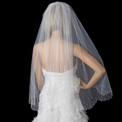 Bridal Wedding Single Layer Fingertip Length Veil 144 1F w/ Rhinestone & Pearl Scalloped Pencil Edge