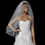 Bridal Wedding Double Layer Fingertip Length Veil 1514 F w/ Silver Floral Embroidered Scalloped Pencil Edge V 1514 F