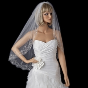 Fingertip Length Veil with Vintage Sequence on Scalloping Cut Edge V 1568 1F