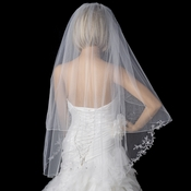 Two Tier Fingertip Length Veil with Flower Pattern Pencil Edge of Rhinestones & Pearls V 2008
