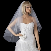 Two Tier Fingertip Veil with Exquisite Crystal & Pearl Accented Edge V 2020