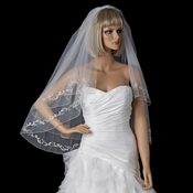 Bridal Wedding Double Layer Fingertip Length, Floral Embroidery & Pencil Edge Veil 2094