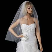 Bridal Wedding Single Layer Fingertip Length, Tiny Rhinestones Cut Edge Veil 2221