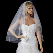 Bridal Wedding Double Layer Fingertip Length, Swarovski Crystal & Rhinestone Edge Veil 2824