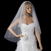Bridal Wedding Double Layer Fingertip Length, Swarovski Crystal Edge Veil 294