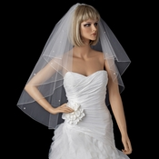 Double Tier Fingertip Length Diamond White Veil with Swarovski & Pearl Flower Accents & Pencil Edge V 5000 F