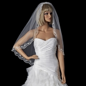 Single Layer Fingertip Length Veil with Scalloped Embroidered Edge V 595