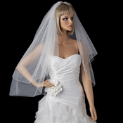 Bridal Wedding Double Layer Fingertip Length, Scattered Crystals Veil 719