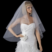 Bridal Wedding Double Layer Fingertip Length, Scattered Rhinestones & Pearls Veil 720