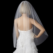 Plain Single Layer Cut Edge Fingertip Length Veil in White / Ivory / Diamond White VC 1F