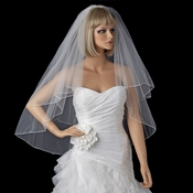 Bridal Wedding Double Layer Fingertip Length Pencil Edge Veil VR F