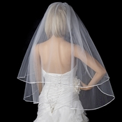 "Bridal Wedding Double Layer 1/8"" Satin Ribbon Edge Elbow Length Veil VS F 18"