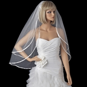 "Bridal Wedding Double Layer 3/8"" Satin Ribbon Edge Elbow Length Veil VS F 38"