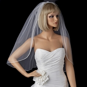 Bridal Wedding Single Layer Rattail Satin Corded Edge Fingertip Length Veil VSH R 1F
