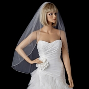 Single Layer Bridal Wedding veil with Swarovski Rhinestone Edge Fingertip Length VSW 1F