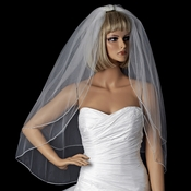 Bridal Wedding Double Layer Swarovski Rhinestone Edge Veil Fingertip Veil VSW F