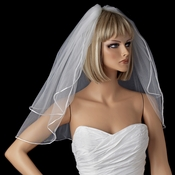 Bridal Wedding Double Layer Shoulder Length Rattail Satin Corded Edge Veil VR S