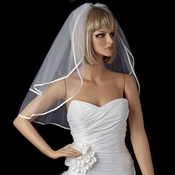 "Bridal Wedding Double Layer 1/8"" Satin Ribbon Edge Shoulder Length Veil VS S 1/8"