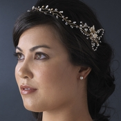 Crystal & Pearl Vintage Vine Bridal Headpiece HP 7711 (Gold or Silver)