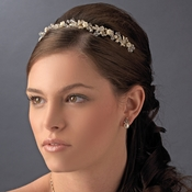Precious Gold Clear Crystal & Ivory Flower Headpiece 3890