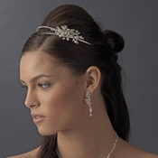 Gold Double Rhinestone Bridal Headband with Crystal Ornate Side Accent HP 2913