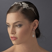 Rhodium Vintage Rhinestone Touched Bridal Headband - HP 8406 Silver