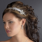 Elegant Silver Rhinestone Sparkle Headband with Glistening Feather & Bow Side Accent - HP 7799